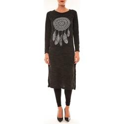 Kleidung Damen Maxikleider By La Vitrine Robe Plume anthracite Grau