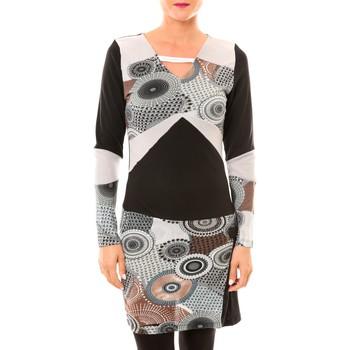 Kleidung Damen Kurze Kleider Bamboo's Fashion Robe Cercle BW613 gris Schwarz