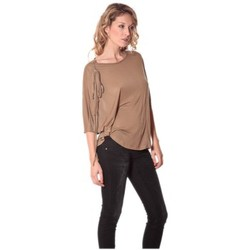 Kleidung Damen Langarmshirts Rich & Royal Tee-shirt Plumes 13q555 Camel Braun