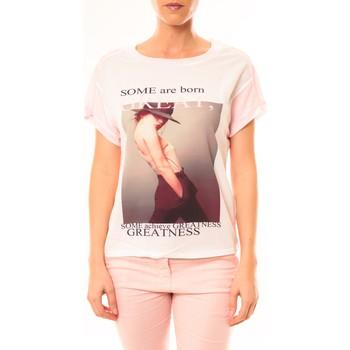Kleidung Damen T-Shirts By La Vitrine Tee-shirt B005 Blanc/Rose Rose