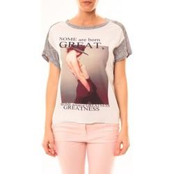 Kleidung Damen T-Shirts By La Vitrine Tee-shirt B005 Blanc/Gris Grau