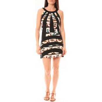 Kleidung Damen Kurze Kleider Bamboo's Fashion Robe BA1532 Écru/Noir Schwarz