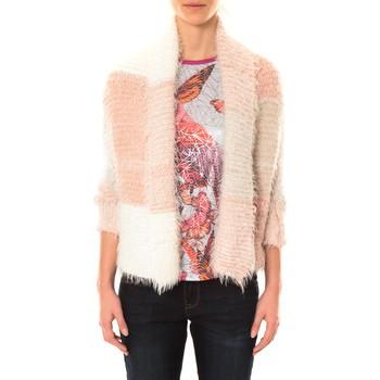 Kleidung Damen Strickjacken De Fil En Aiguille Gilet Bicolore LOLA blanc et rose Rose