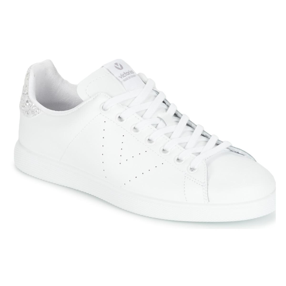 Victoria DEPORTIVO BASKET PIEL Weiss / Silbern - Kostenloser Versand bei Spartoode ! - Schuhe Sneaker Low Damen 47,20 €