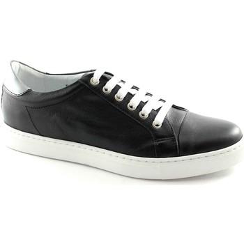 Schuhe Herren Sneaker Low Café Noir CAF NOIR Schwarz PG124 Schnürsenkel Leder Mann sheakers Nero