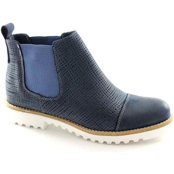 Schuhe Herren Boots Made In Italy M123 blau Stiefel Frau beatles Spitze Blu