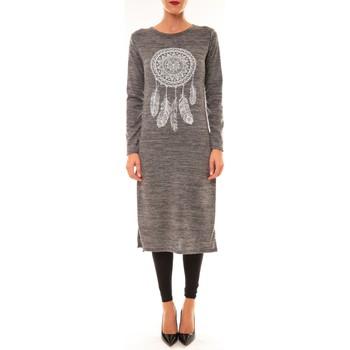 Kleidung Damen Maxikleider By La Vitrine Robe Plume gris Grau
