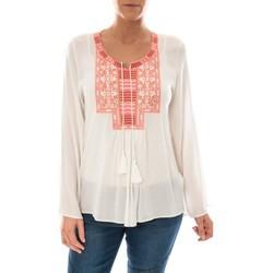 Kleidung Damen Tops / Blusen Barcelona Moda Top Pink Blanc Broderie Corail Weiss