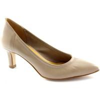 Schuhe Damen Pumps Donna Più PI WOMAN MAN M52251 beige dcollet stretch Frau ungefüttert Beige