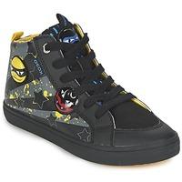 Schuhe Jungen Sneaker High Geox KIWI BOY Schwarz / Gelb