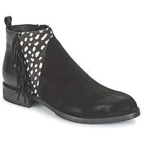 Schuhe Damen Boots Meline VELOURS NERO PLUME NERO Schwarz / Weiss