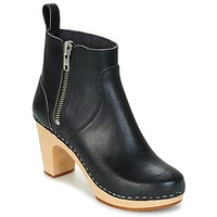 Schuhe Damen Low Boots Swedish hasbeens ZIP IT SUPER HIGH Schwarz