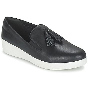 Schuhe Damen Slip on FitFlop TASSEL SUPERSKATE Schwarz