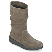 Schuhe Damen Boots FitFlop LOAF SLOUCHY KNEE BOOT SUEDE Maulwurf