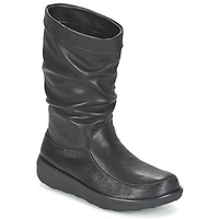 Schuhe Damen Boots FitFlop LOAF SLOUCHY KNEE BOOT LEATHER Schwarz