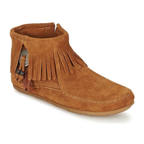 Minnetonka CONCHO FEATHER SIDE ZIP BOOT Braun  Schuhe Boots Damen 94,99