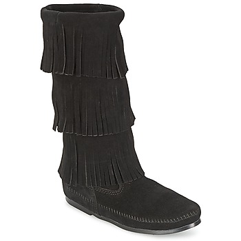 Schuhe Damen Klassische Stiefel Minnetonka CALF HI 3 LAYER FRINGE BOOT Schwarz