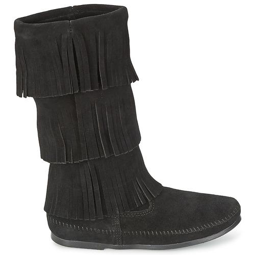 Minnetonka CALF HI 3 LAYER FRINGE BOOT Schwarz  Schuhe Klassische Stiefel Damen 149
