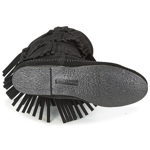 Minnetonka CALF Schwarz HI 3 LAYER FRINGE BOOT Schwarz CALF  Schuhe Klassische Stiefel Damen 152,70 251988