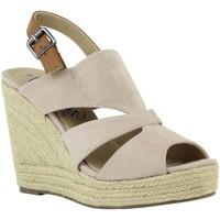 Schuhe Damen Leinen-Pantoletten mit gefloch Refresh 61784 Beige