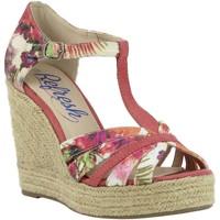 Schuhe Damen Leinen-Pantoletten mit gefloch Refresh 61805 Rojo