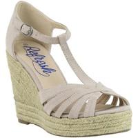 Schuhe Damen Leinen-Pantoletten mit gefloch Refresh 61805 Beige