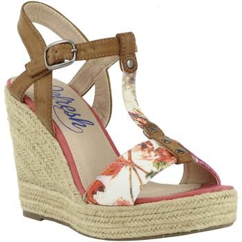 Schuhe Damen Leinen-Pantoletten mit gefloch Refresh 61853 Rojo
