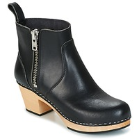 Schuhe Damen Low Boots Swedish hasbeens ZIP IT EMY Schwarz