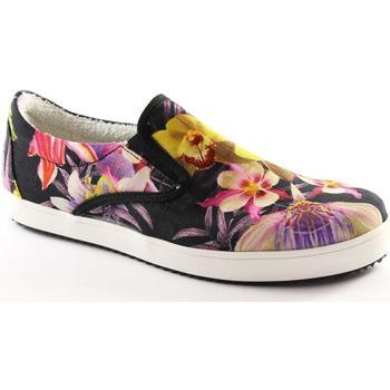 Schuhe Damen Sneaker Low Prodotto Italiano PRODUKT ITALIAN BLUMEN schwarze Schuhe Frau Beleg auf elastische Multicolore