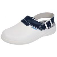 Schuhe Damen Pantoletten / Clogs Abeba Küchenclog 7622 weiss/blau