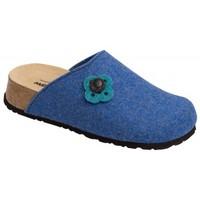 Schuhe Damen Hausschuhe Weeger Hausschuh Art. 41526 Keilsohle kobalt