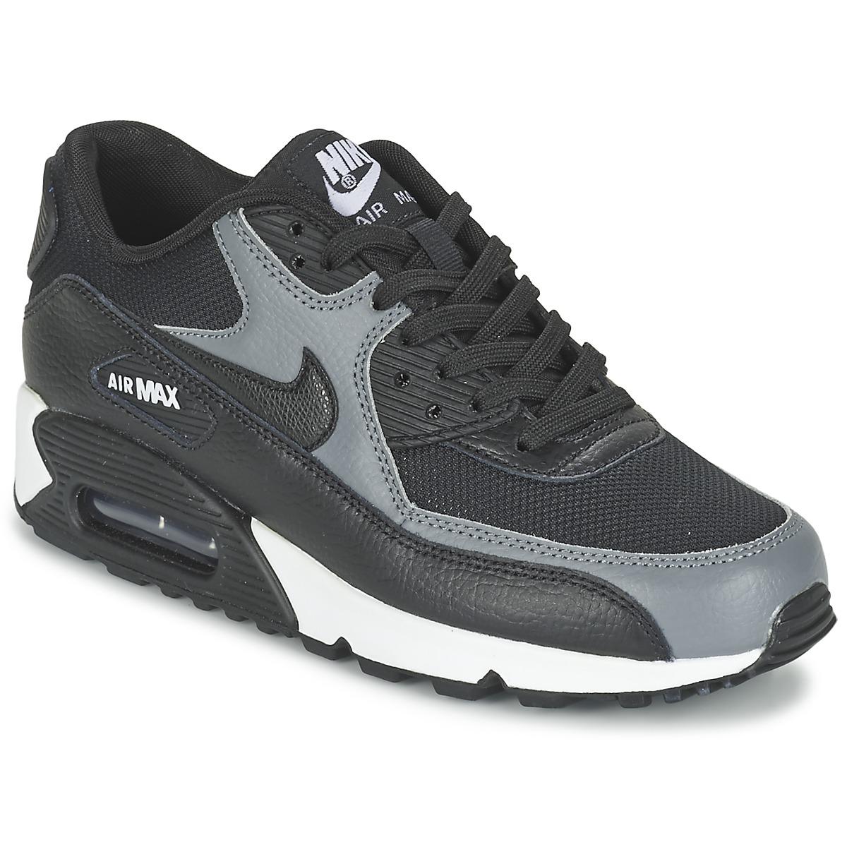 Nike AIR MAX 90 W Schwarz / Grau - Kostenloser Versand bei Spartoode ! - Schuhe Sneaker Low Damen 111,20 €