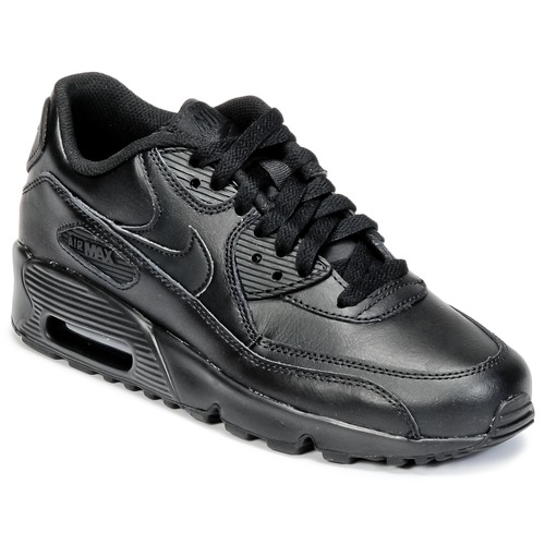 Schuhe Kinder Sneaker Low Nike AIR MAX 90 LEATHER GRADE SCHOOL Schwarz