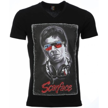 Kleidung Herren T-Shirts Local Fanatic Scarface Headphone Print Schwarz