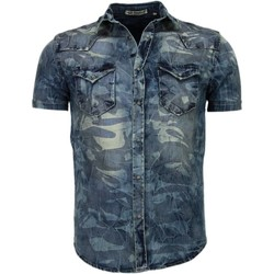 Kleidung Herren Kurzärmelige Hemden Enos Jeanshemd Slim Armee Motiv Blau