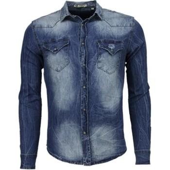 Kleidung Herren Langärmelige Hemden Enos Jeanshemd Slim Denim Blau