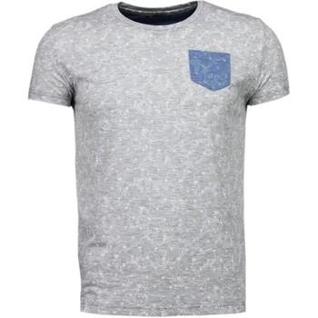 Kleidung Herren T-Shirts Bn8 Black Number Blättern Motiv Sommer Grau