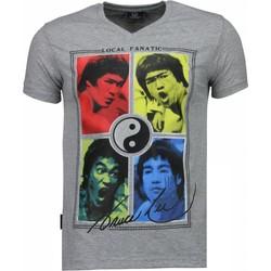 Kleidung Herren T-Shirts Local Fanatic Bruce Lee Ying Yang Grau