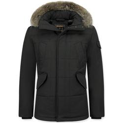 Kleidung Herren Parkas Beluomo Jacken Mit Fellkragen Winterjacken  Große Schwarz