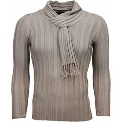 Kleidung Herren Pullover Justing Schalkragen Streifen Motiv Beige
