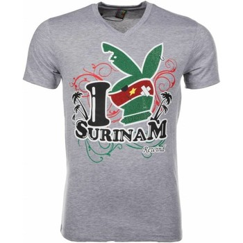 Kleidung Herren T-Shirts Local Fanatic I Love Suriname Grau