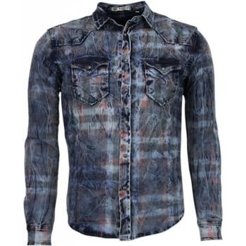 Kleidung Herren Langärmelige Hemden Enos Jeanshemd Slim Farbe Motiv Blau