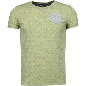 Kleidung Herren T-Shirts Bn8 Black Number Blättern Motiv Sommer Gelb