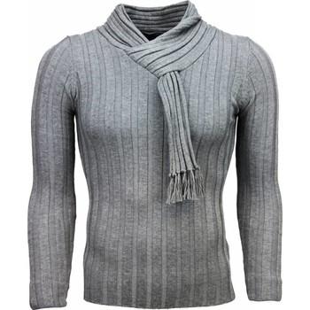 Kleidung Herren Pullover Justing Schalkragen Streifen Motiv Grau