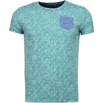 Kleidung Herren T-Shirts Bn8 Black Number Blättern Motiv Sommer Grün