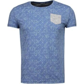 Kleidung Herren T-Shirts Bn8 Black Number Blättern Motiv Sommer Blau