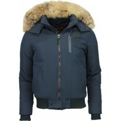 Kleidung Herren Parkas Enos Winterjacke Kurze Jacke Mit Fellkragen Großer Pelzkragen Blau