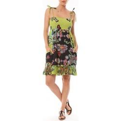 Kleidung Damen Kurze Kleider By La Vitrine Robe Bretelle Kolossi imprimée Fleurs Grün