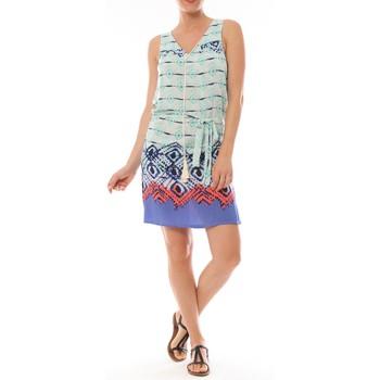 Kleidung Damen Kurze Kleider By La Vitrine Ema Blues Robe Bambou Bleu Blau