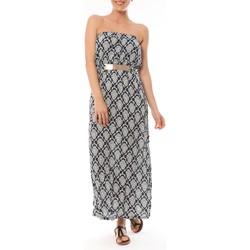 Kleidung Damen Maxikleider Dress Code Robe Longue 9597 Bleu imprimée fleurs Blau